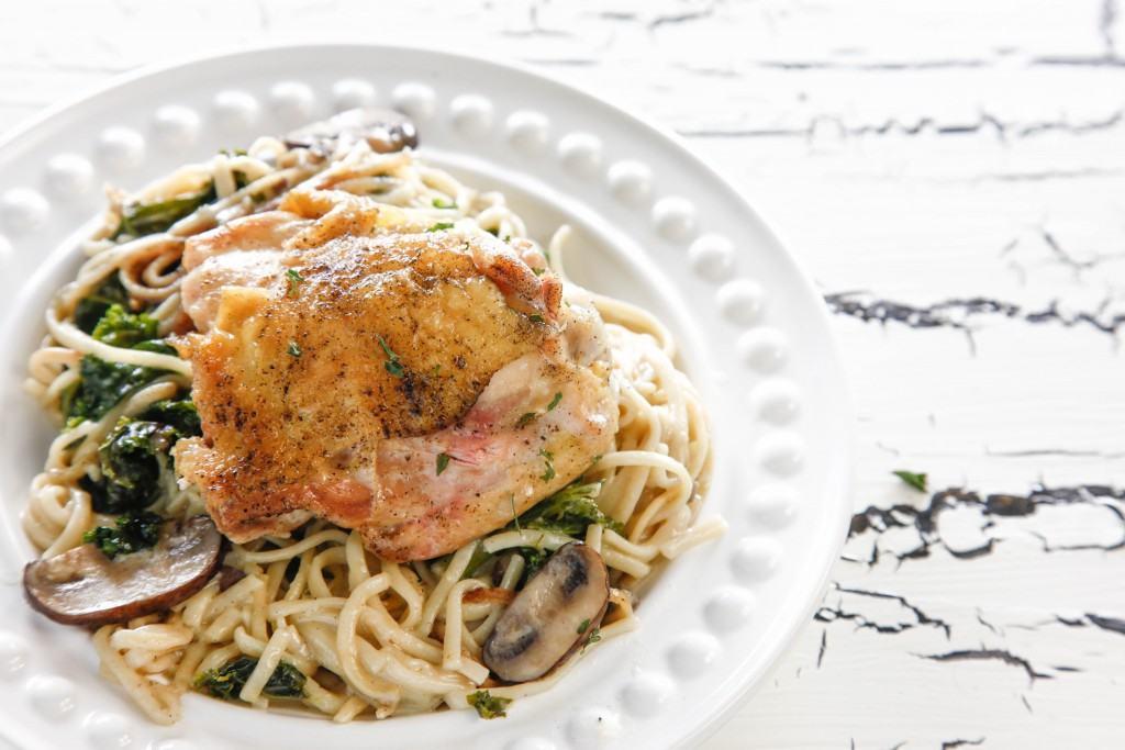 Creamy Mushroom Chicken Pasta Skillet