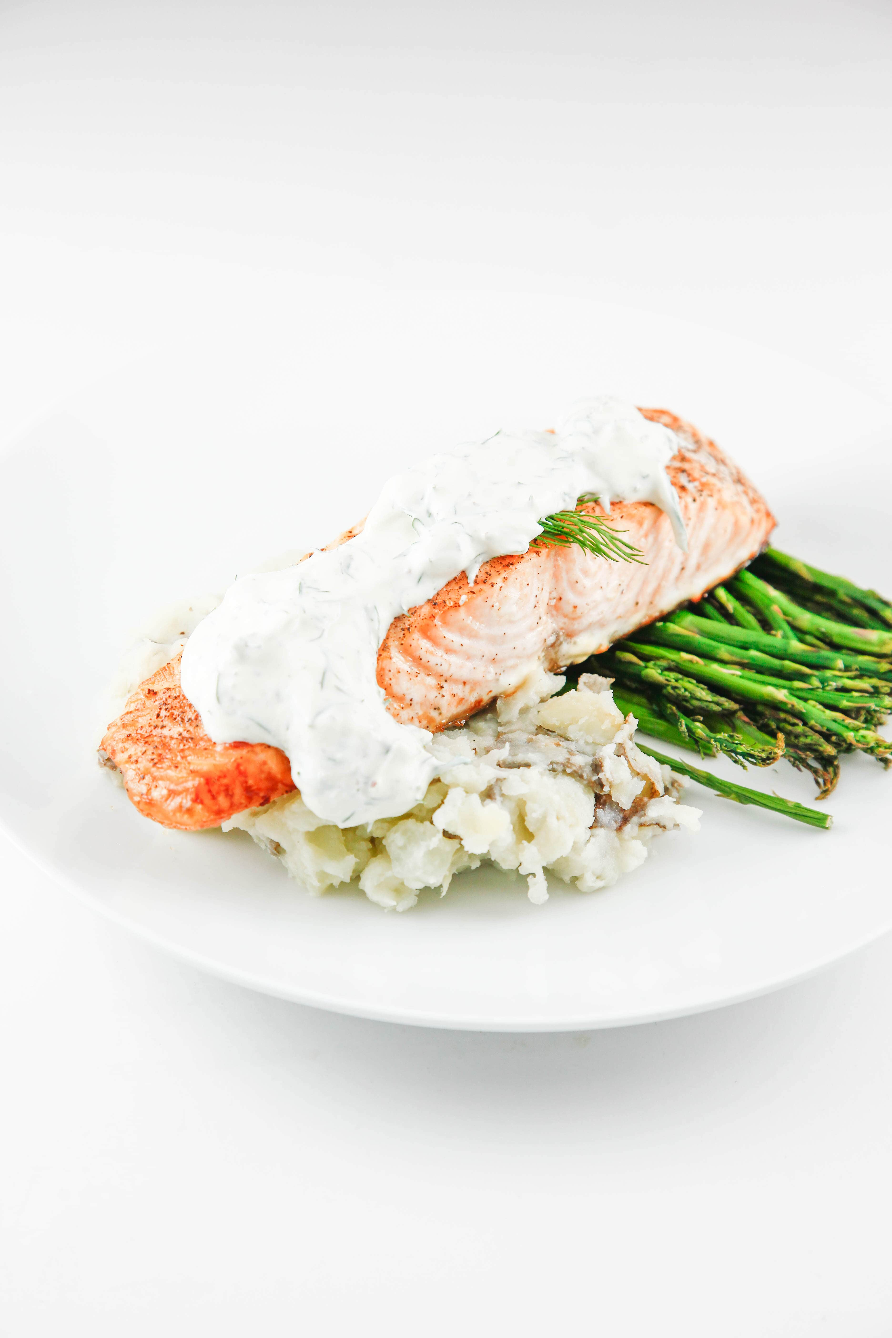 Roasted salmon with dill sauce the brooklyn cook for Dill sauce for fish