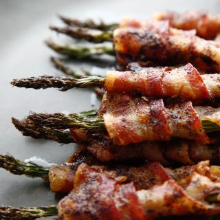 "Bacon Wrapped ""Spicy and Sweet"" Asparagus"