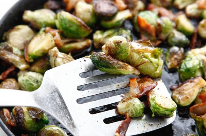 Pan Roasted Bacon Brussels Sprouts with Maple Vinaigrette _