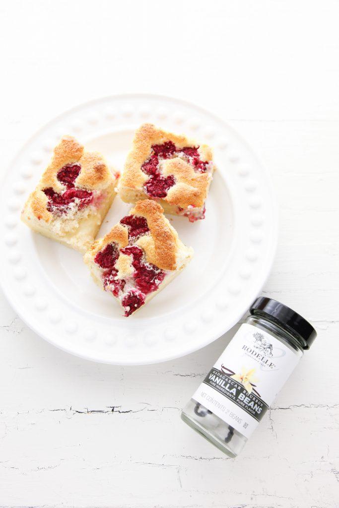 Raspberry Vanilla Bean Magic Custard Cake-10