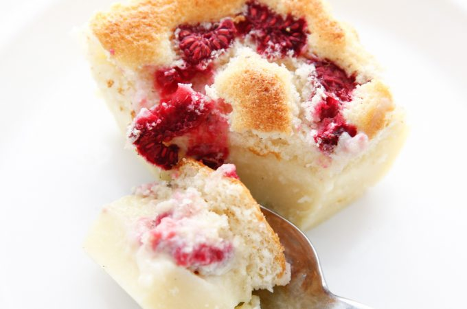 Raspberry Vanilla Bean Magic Custard Cake