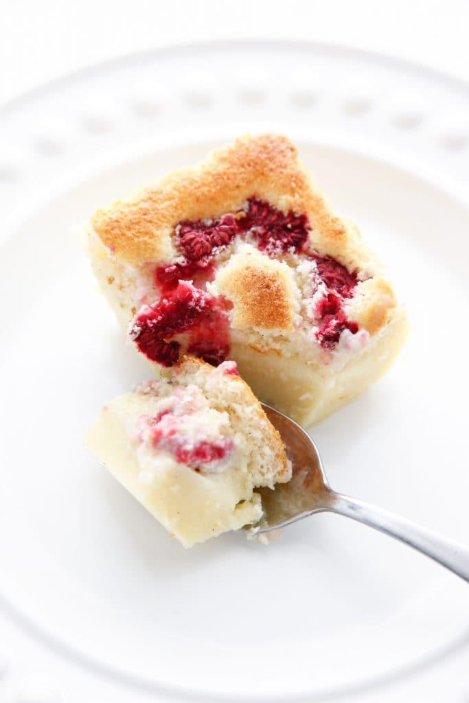 Raspberry Vanilla Bean Magic Custard Cake-13