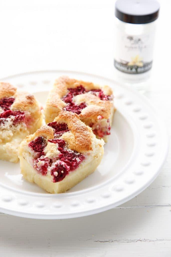 Raspberry Vanilla Bean Magic Custard Cake-9