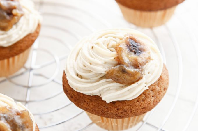 Bananas Foster Brown Sugar Cupcakes