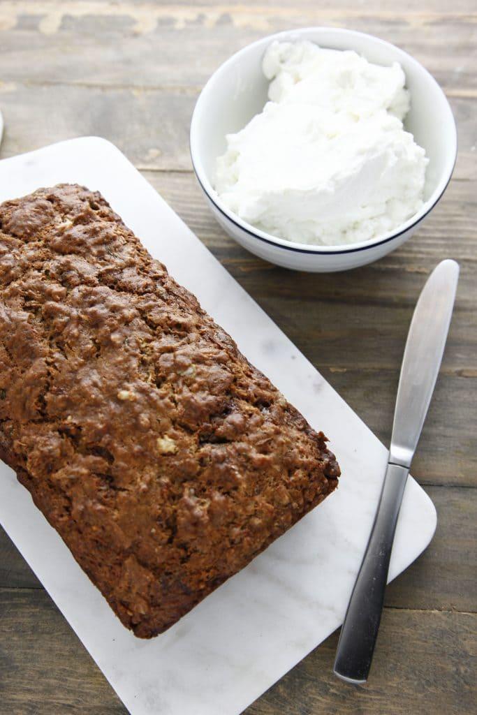 Zucchini Walnut Bread with Vanilla Labne Spread