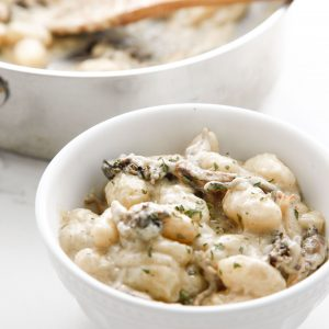 Roasted Mushroom Gnocchi with Cream Sauce