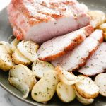 Maple Crusted Pork Roast with Potatoes and Onions