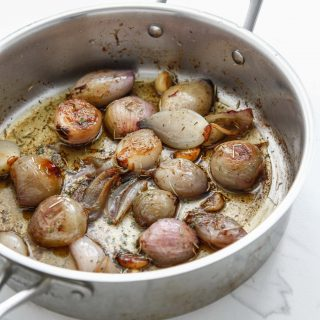 Rosemary Brown Butter Shallots and a favorite vegetable side dish of mine.
