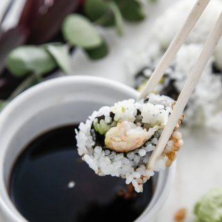 Shrimp Tempura Sushi Roll with Sapporo