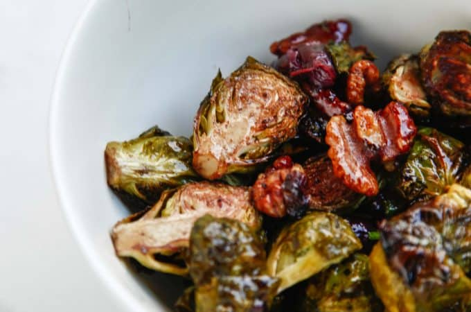 Roasted Balsamic Walnut Grape Brussels Sprouts