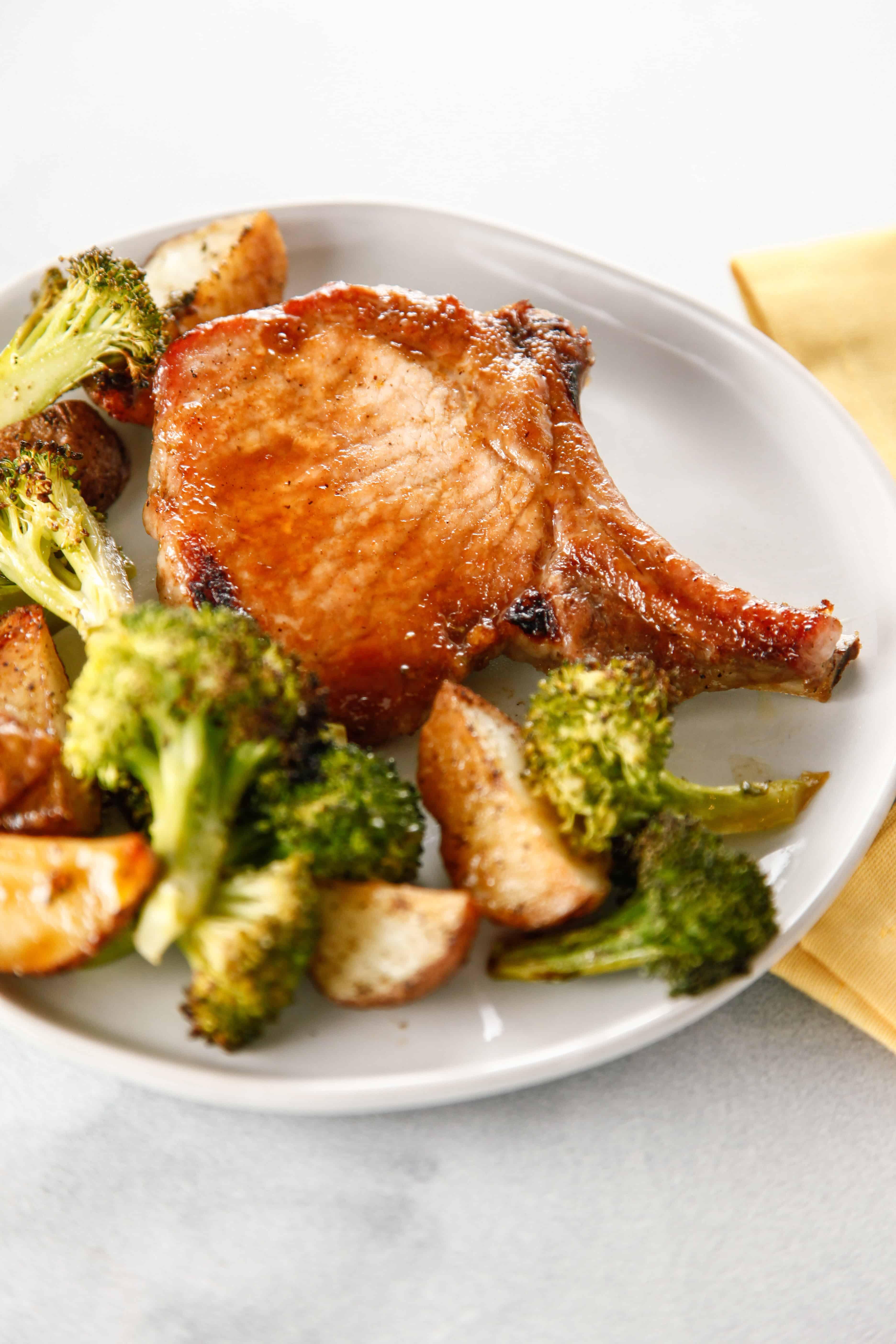 Sheet Pan Marinated Pork Chops and Veggies