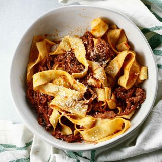an overhead shot of Beef Ragu